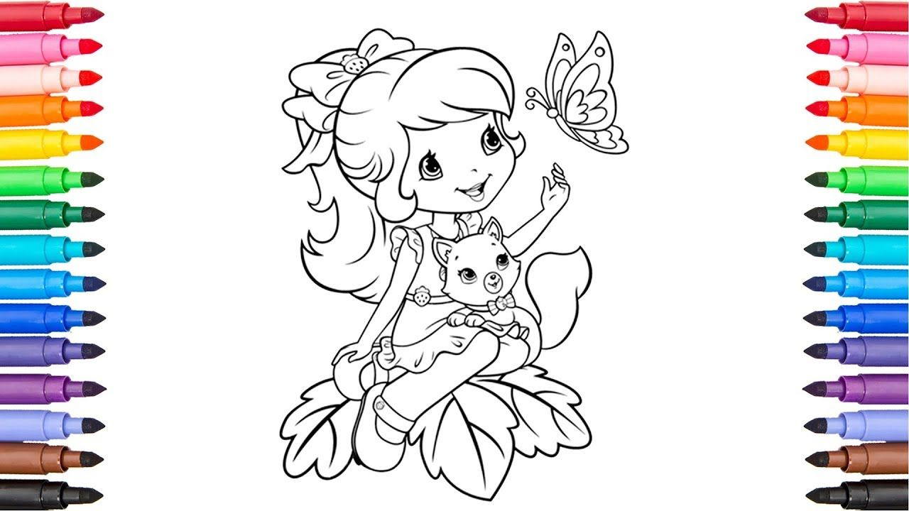 Strawberry shortcake and butterfly coloring page coloring for kids