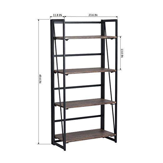 Amazon Folding Bookshelf Rack 4 Tiers Bookcase Home Office Shelf Storage