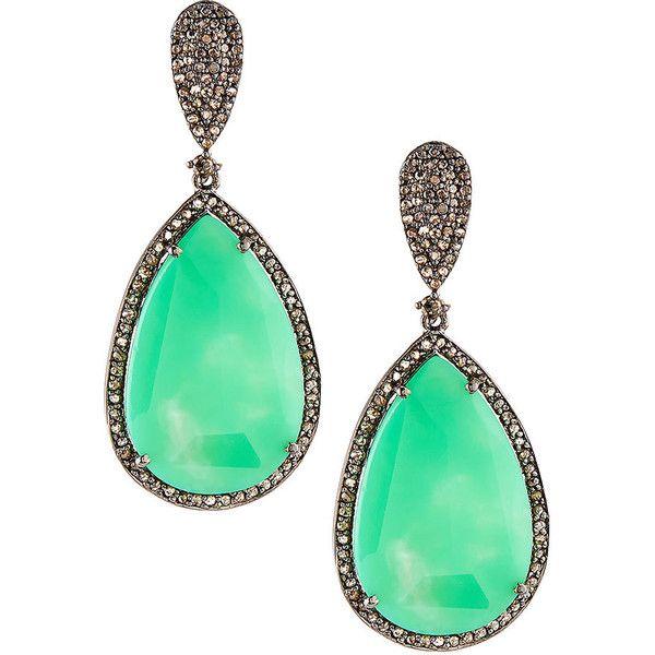 Bavna Chrysoprase & Diamond Pavé Drop Earrings FvtGGXF