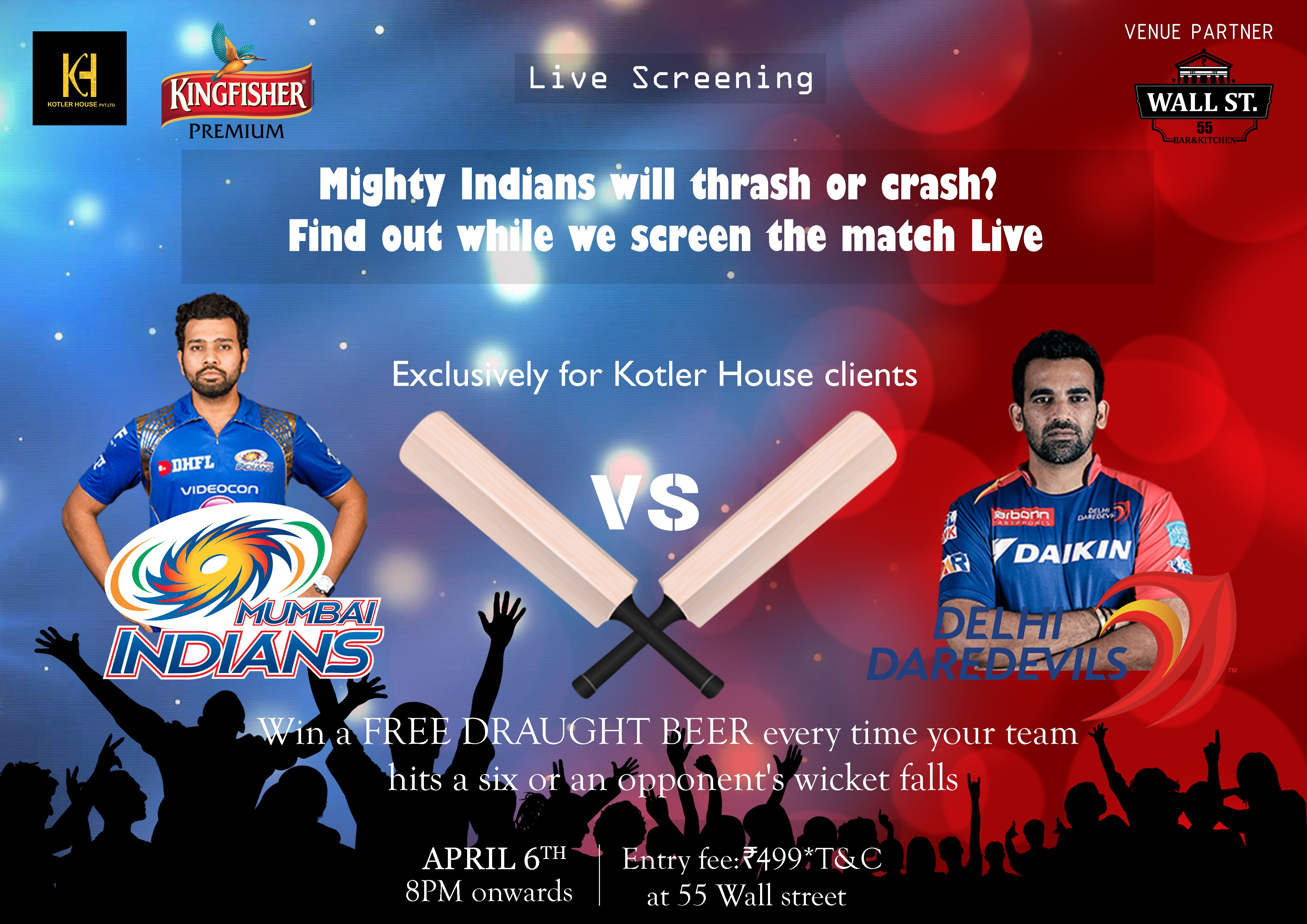 Mighty Indians will thrash or crash? Dine out while we screen the match live at #55WallStreet, JP Nagar and Win a free draught #beer every time your team hits a six or your opponent's wicket falls! Exclusively for #KotlerHouse Clients. To Claim offer Fill the Form/ Give a Missed Call: 080 65333442 https://goo.gl/forms/5qnrapvZAMNFXhLu1