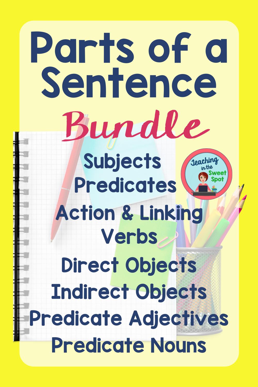 Parts Of A Sentence Parts Of A Sentence School Bundles Grammar Lesson Plans [ 1500 x 1000 Pixel ]
