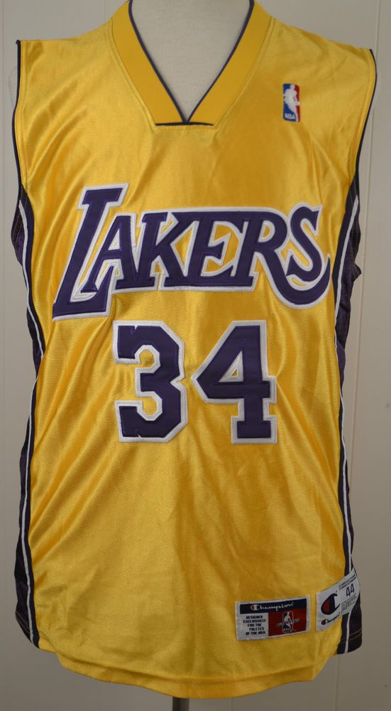 e442de838f2 Champion Los Angeles Lakers Shaquille O Neal Jersey NBA Jersey Sewn Large  44  Champion  LosAngelesLakers
