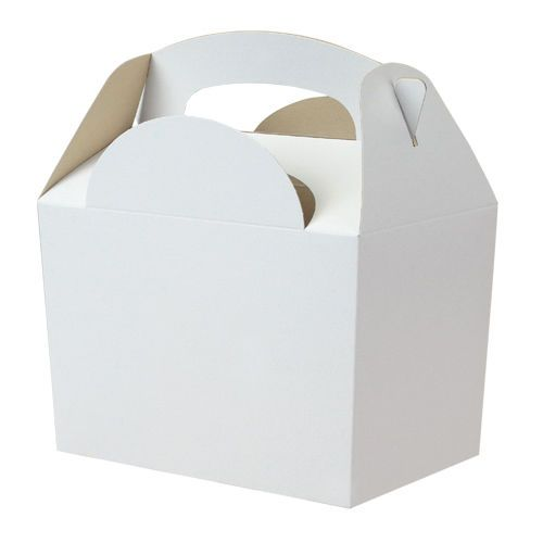 5 x Childrens Kids Plain Coloured Carry Food Meal Birthday Party Loot Bag Boxes