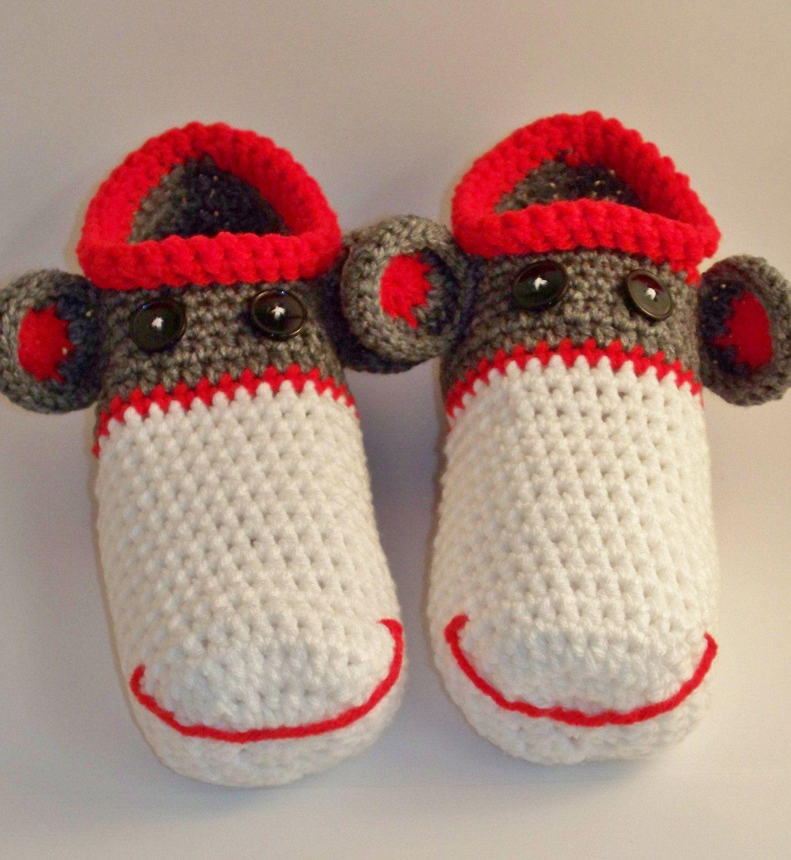 Mens Adult Sock Monkey Slippers. $20.00, via Etsy. | Sock monkey ...