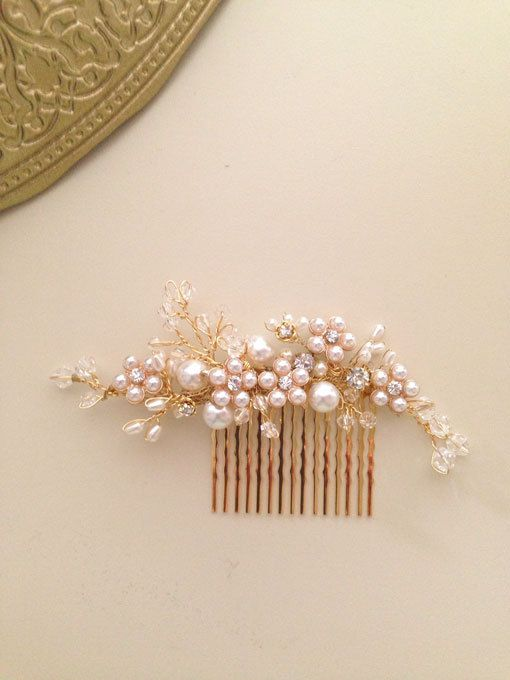 Delicate Bridal hair comb fascinator crystals gold by amuandpri db3a241d06e