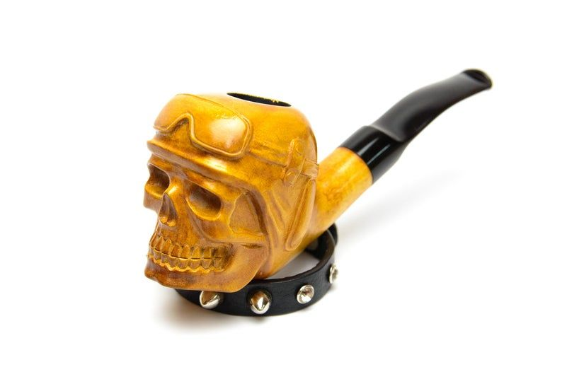 Carved Smoking Pipe Churchwarden Pipe Skull Tobacco Pipe Long Carved Pipe  Husband Birthday Gift Wooden Pipe Skull in Claw