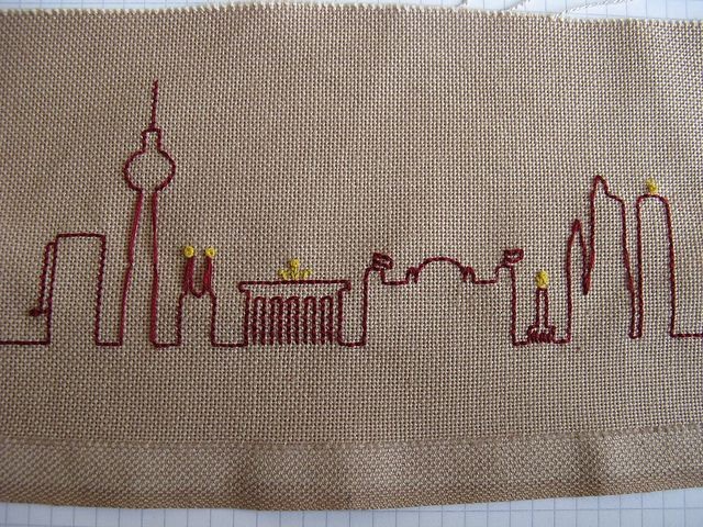 Embroidered Berlin skyline, from East to West.