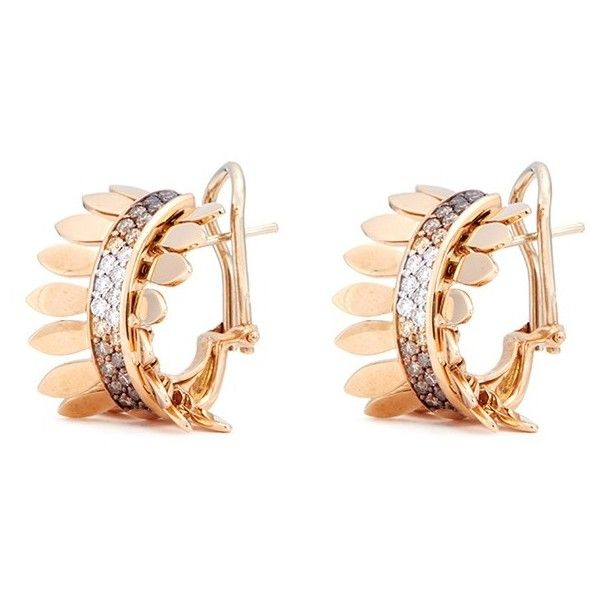 Ferrari Firenze Sole Diamond 18k Rose Gold Hoop Earrings 449 470 Inr Liked On Polyvore Featuring Jewelry Pink