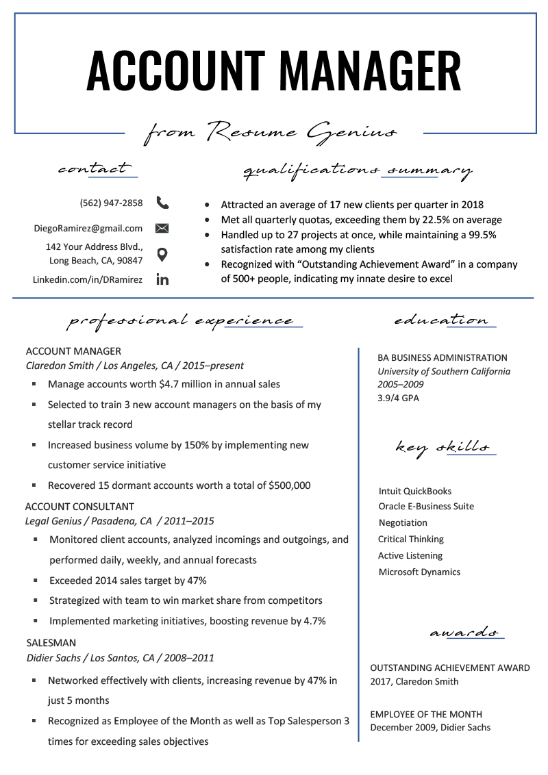 Account Manager Resume Sample & Writing Tips Job resume