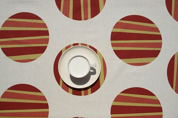 Tablecloth light pale beige yellow orange yellow circles , table runner , napkins , curtains , pillows available, great GIFT