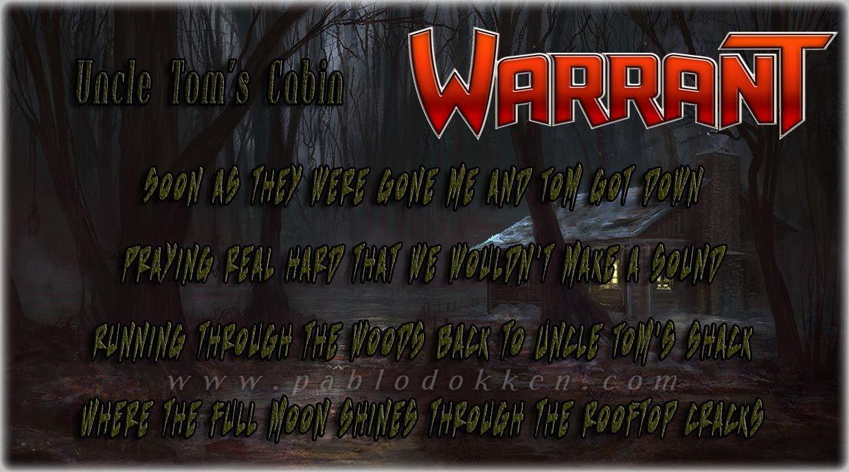 Warrant Uncle Tom's cabin Favorite lyrics, Uncle toms