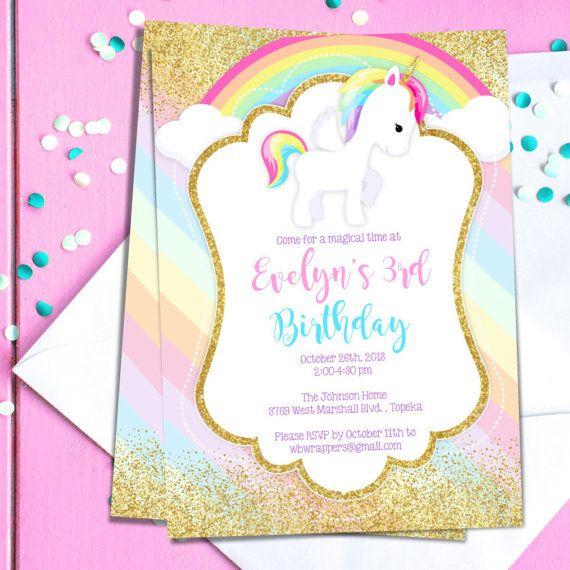 unicorn birthday invitation editable