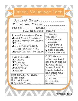 Free Parent Volunteer Form  Parent Involvement  Parent