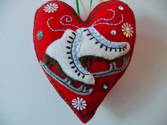 Ice+Skates+Felt+Heart+Ornament+/+Ice+Skates+by+heartfeltwhimsy