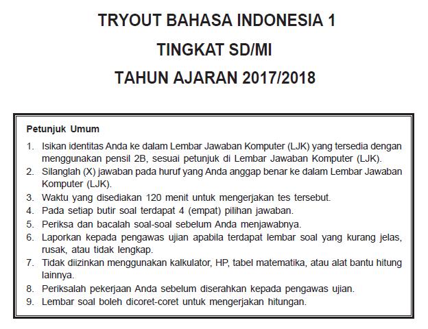 Soal Try Out Bahasa Indonesia Sd Dan Kunci Jawaban