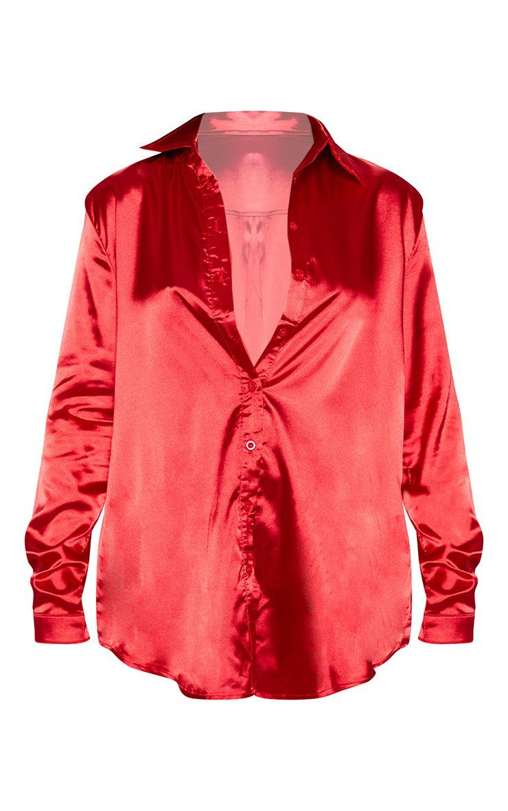 ff4532ea Red Satin Button Front Shirt in 2019 | Fashion | Red satin, Shirts ...