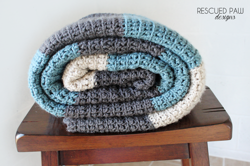 Simple Crochet Blanket - Color Blocked Stripes Crochet Pattern ...