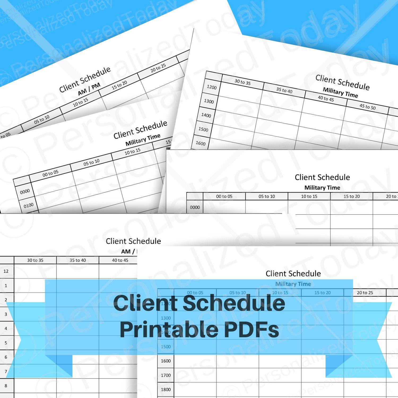 Client Schedule Printable Instant Digital Download