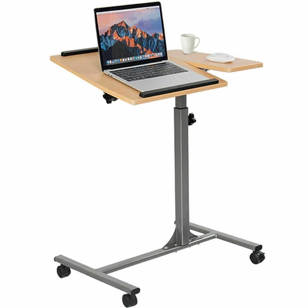 Costway laptop notebook desk adjustable table w wheels