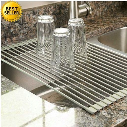Rack Drying Sink Dish Kitchen Drainer Holder Roll Up Storage Over Mat  Dishes Dry #Surpahs