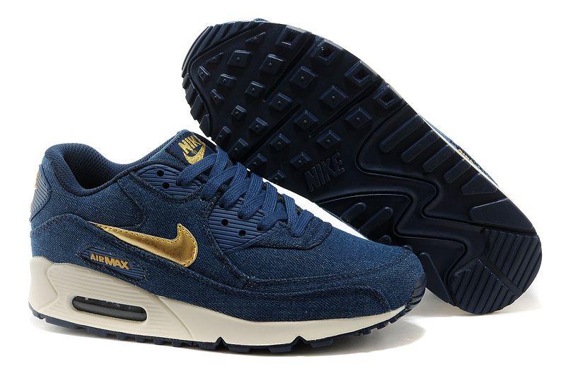newest 03ac7 c6ade ... Nike Air Max 90 Denim Womens Running Shoes - Dark Blue Gold ...