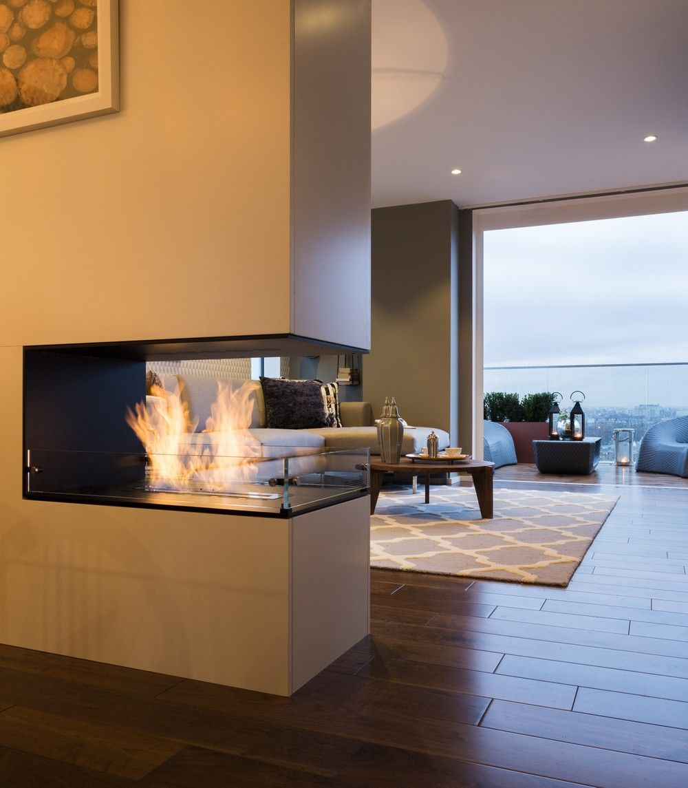 Feature bespoke double sided fireplace the filaments penthouse collection suna interior design for Double sided fireplace design