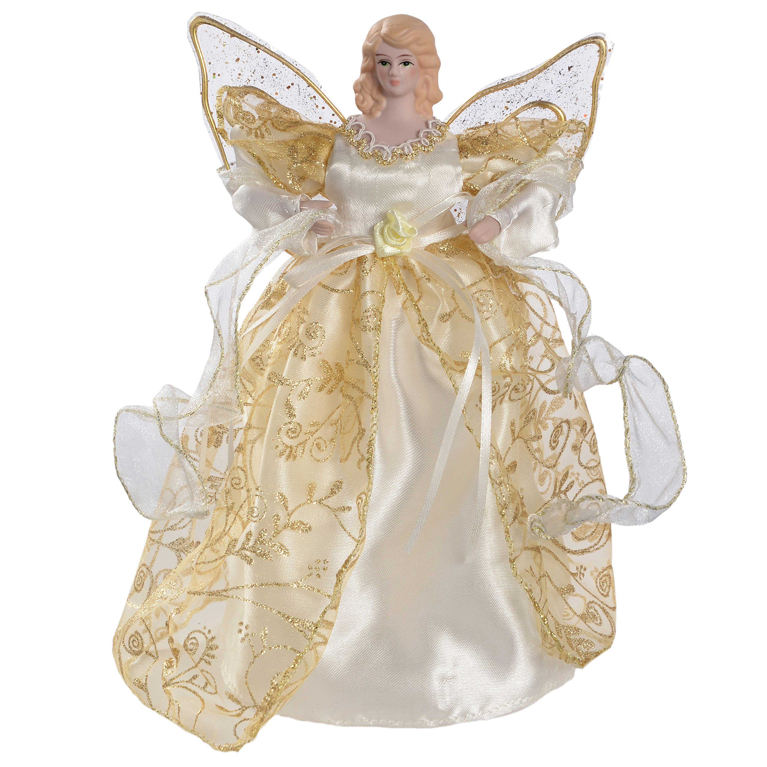 WeRChristmas 25 cm Angel Decoration Christmas Tree Top Topper with ...