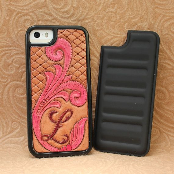 separation shoes bd881 cf94f Custom Leather Initial Western Tooling Cell Phone Case for iPhone 4 ...