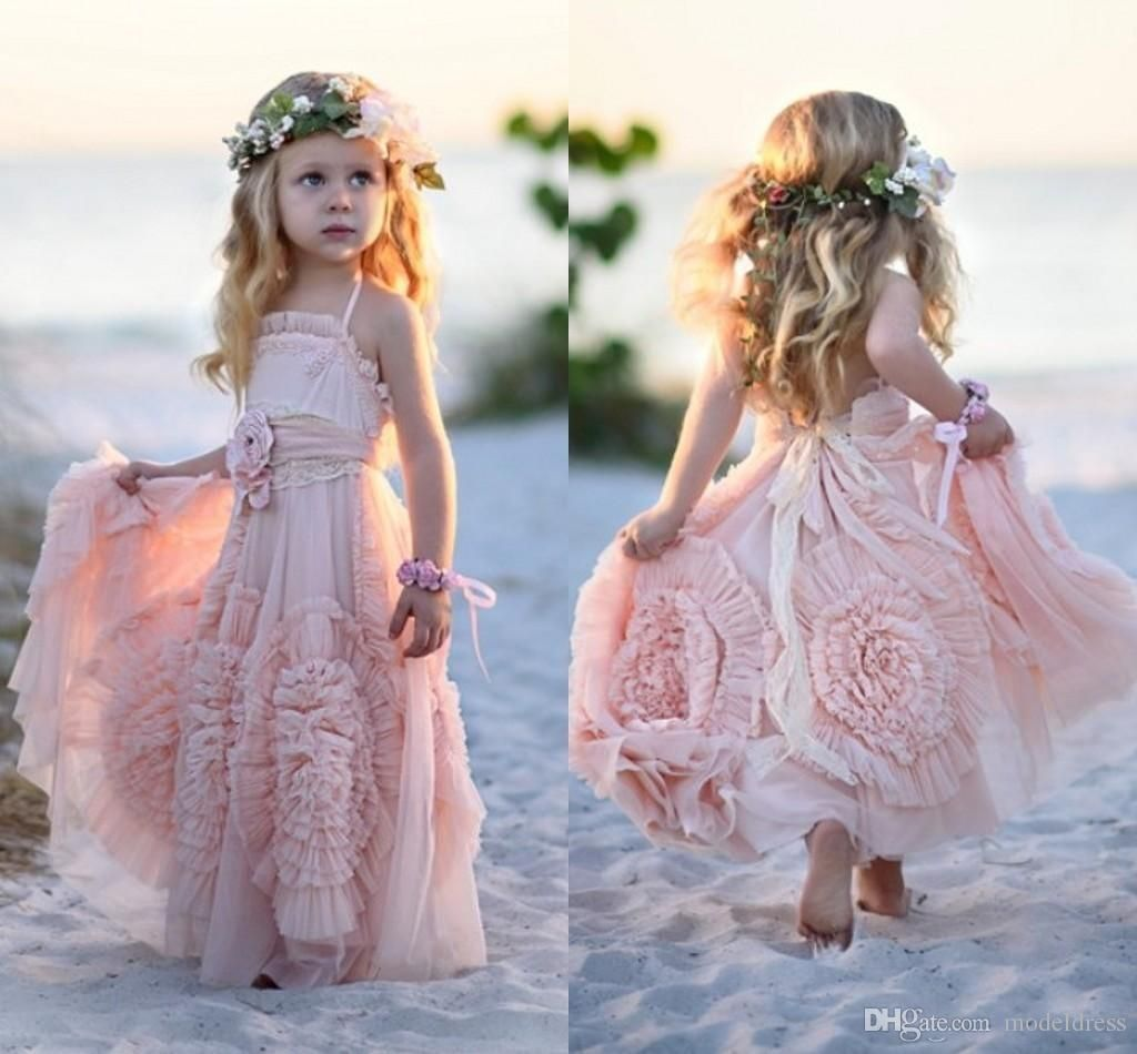 cfc3e8fa81c 2016 Unique Design Flower Girls Dresses for Weddings Handmade Flowers Lace  Boho Pink Green Girls Pageant Gowns Child First Communion Dress