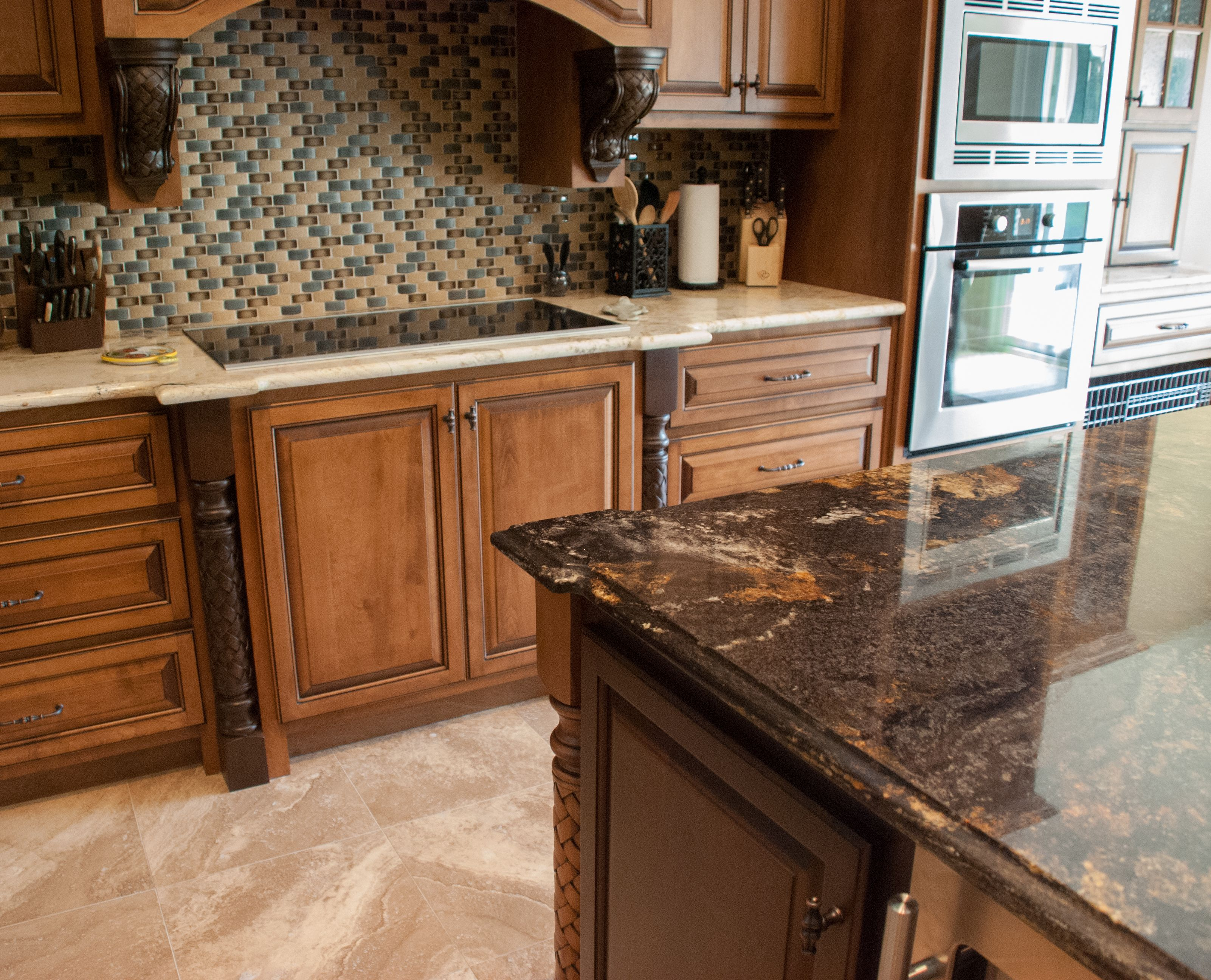 granite kitchen counters commercial appliances contrasting island and main countertops