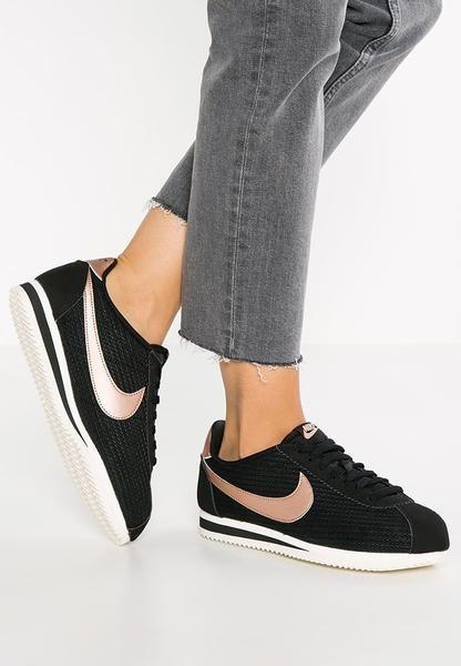 newest 59e3c 850e1 womens-black-nike-sportswear-classic-cortez-lux-trainers-