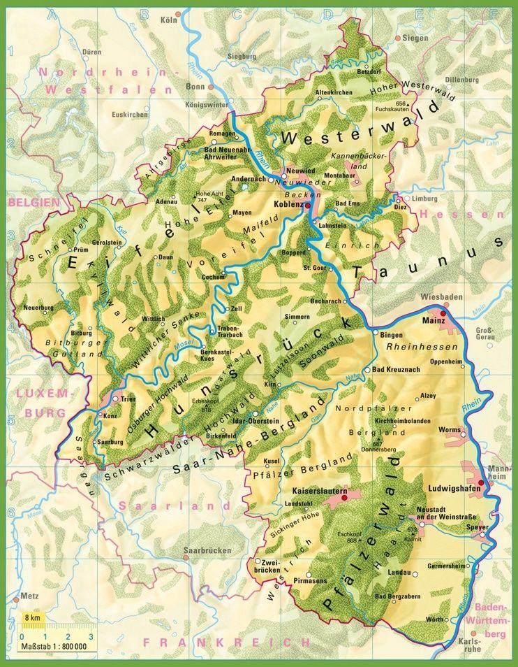 Rhineland Palatinate Physical Map Heritage 3 Pinterest