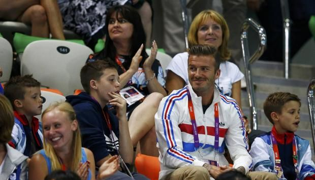 On August 11, 2012, David Beckham, with his sons Cruz, Brooklyn, and Romeo, went to watch the finals of the men's 10m platform at the London Aquatics Center.