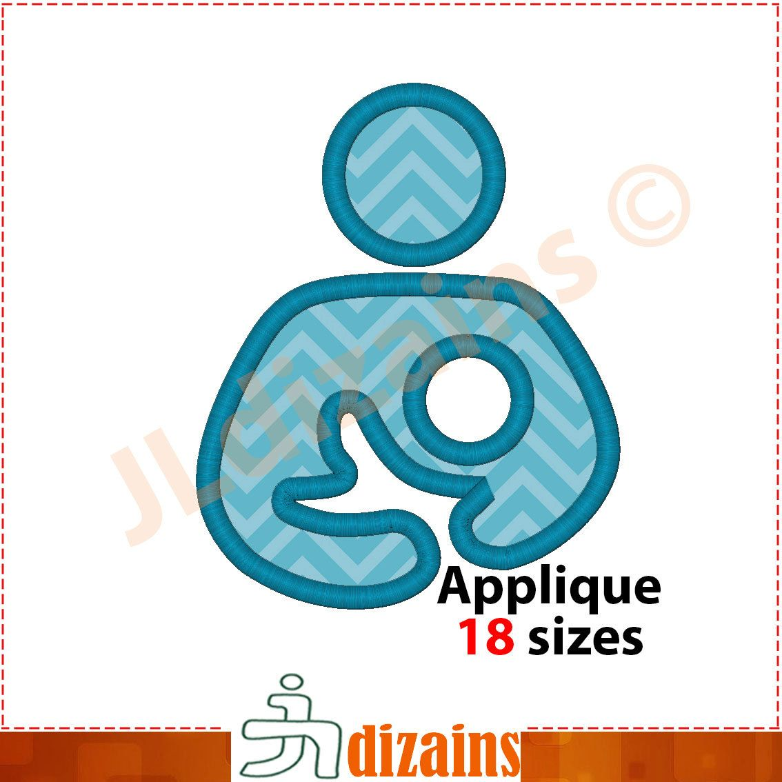 Breastfeeding Applique Design Machine Embroidery Design