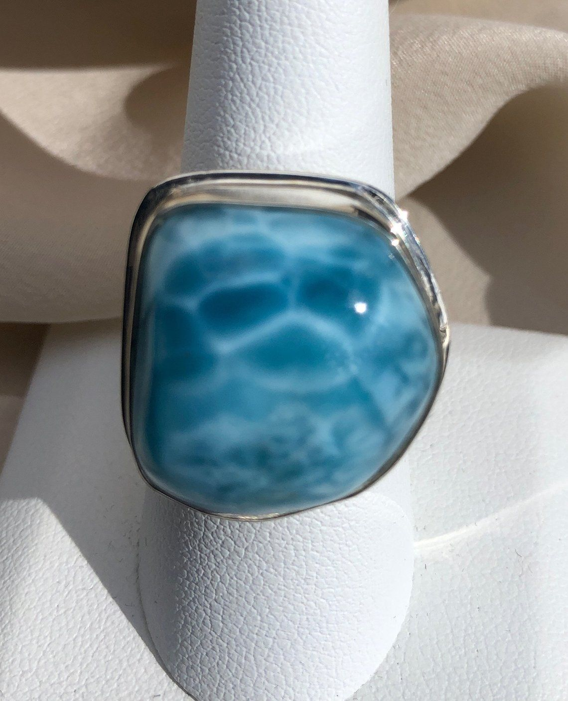 Dominican Republic Custom Larimar Ring Wire Wrapped with Copper