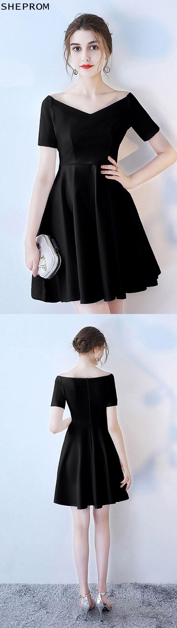 Short black vneck homecoming dress with short sleeves