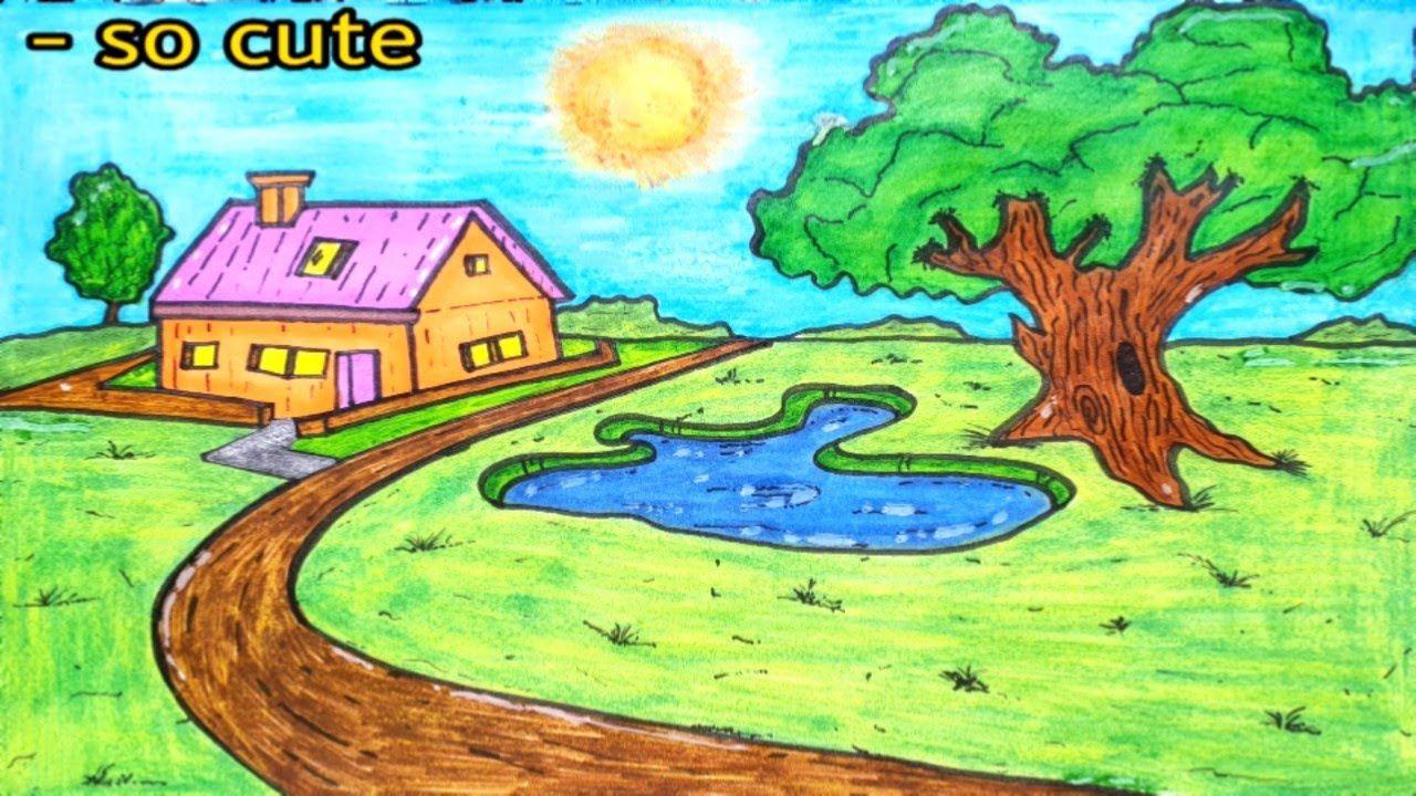 Draw House In Landscape تعليم الرسم رسم بقلم رصاص مع طريقة التلوين Painting Art Cute