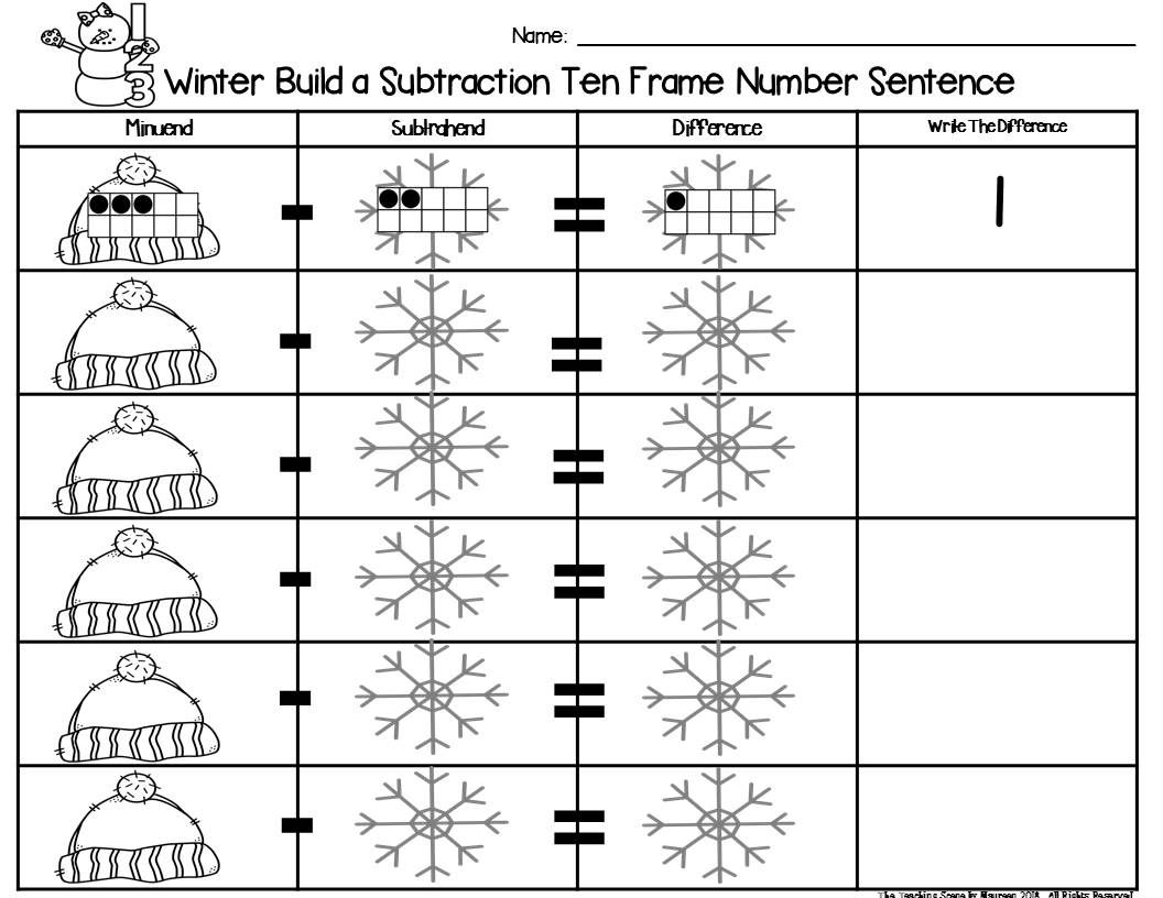 Winter 2 Addend Addition Amp Subtraction 0 20 With Ten