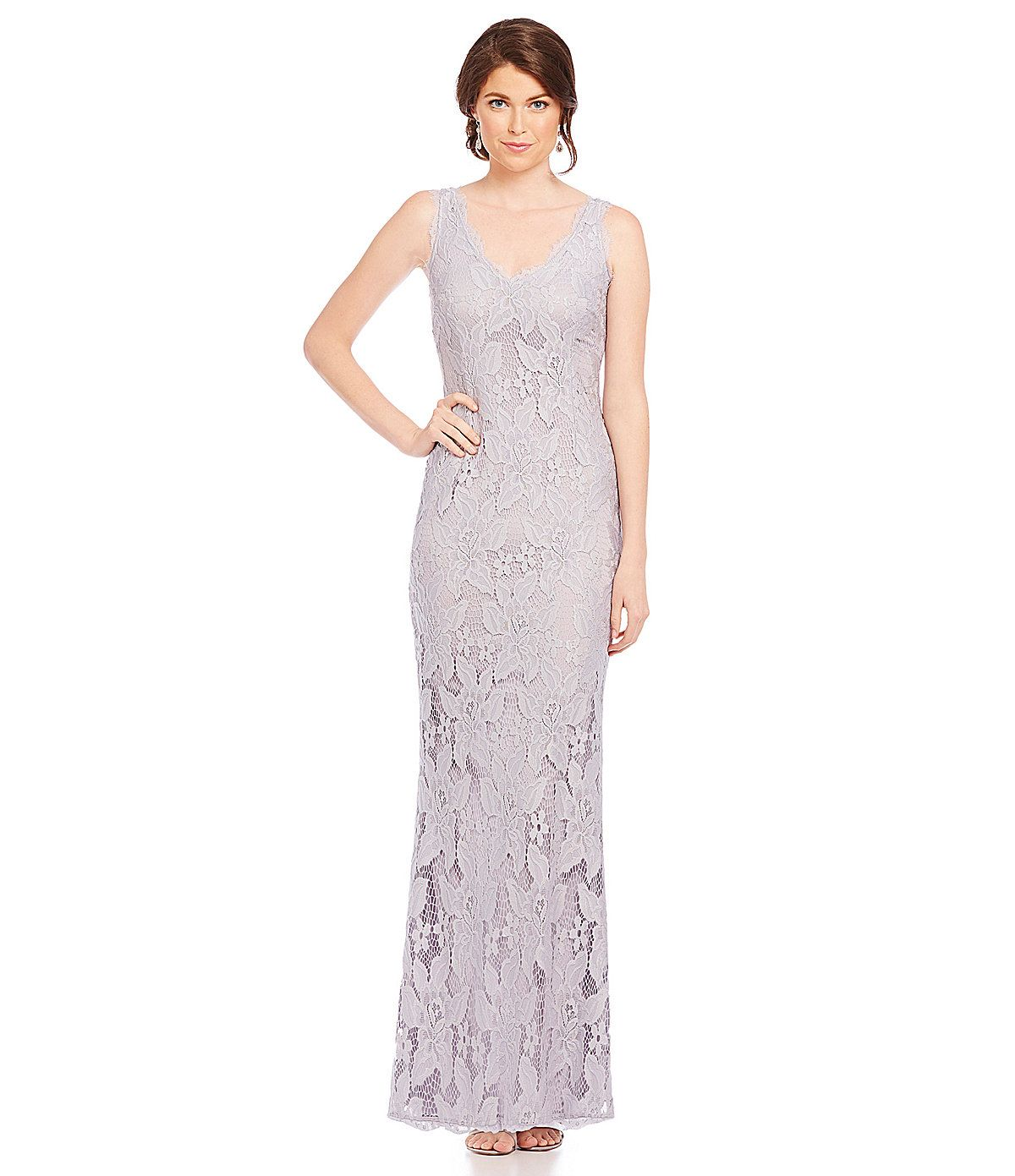 Adrianna Papell Sleeveless V-Neck Lace Gown | Dillards.com | WHAT ...