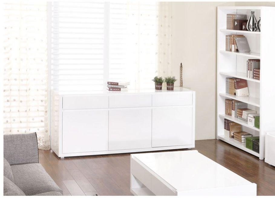 Buffet laqué blanc 3 portes, 3 tiroirs OURAL - Design Frederic ...