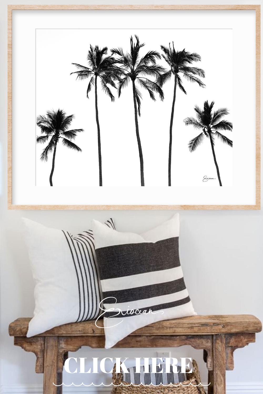 Black And White Palm Tree Print Coastal Palm Tree Print Etsy In 2020 Tropical Decor Tropical Bedrooms Wall Decor Living Room #palm #tree #decor #for #living #room