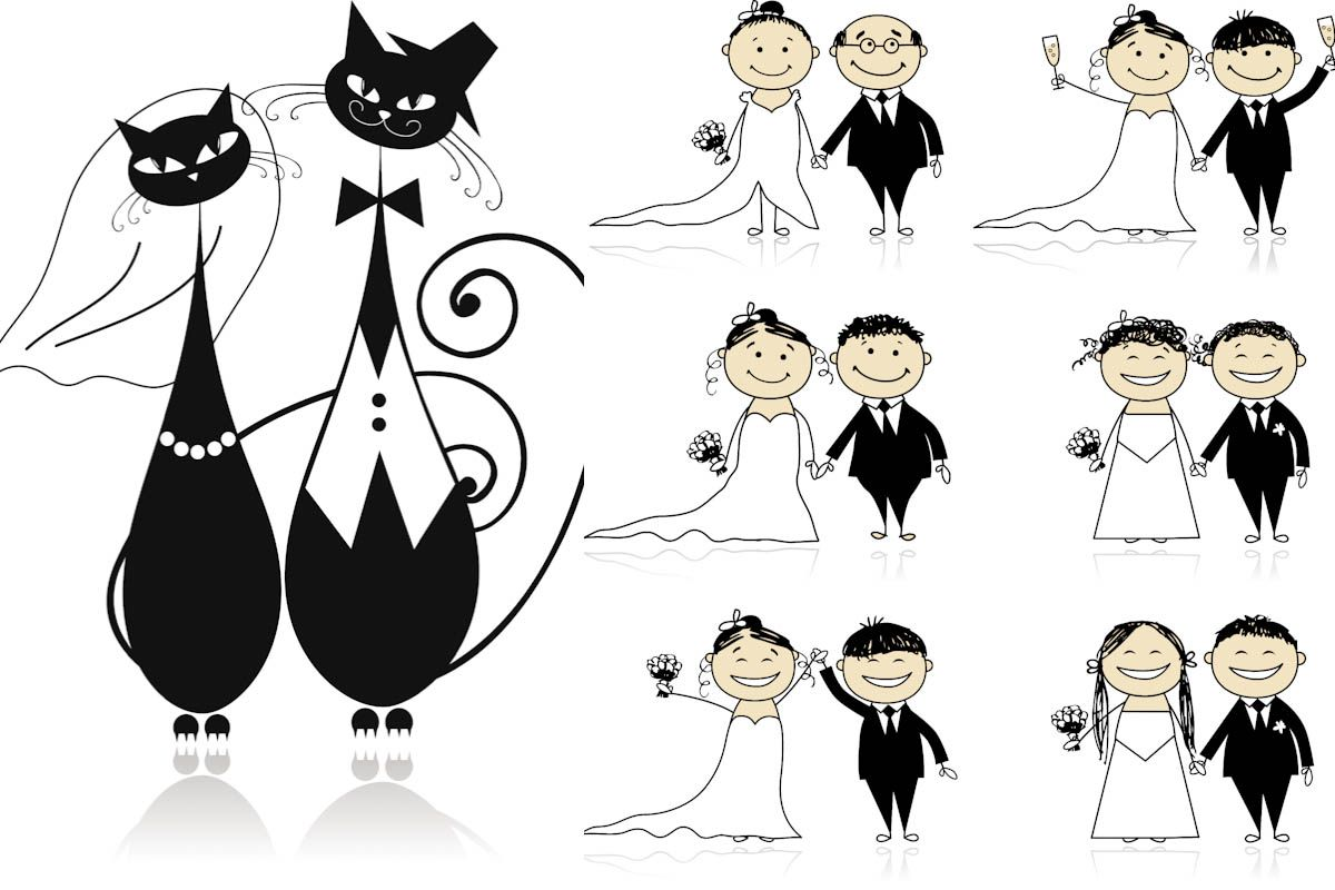 wedding invitation decoration clip art%0A   Sets of   vector cartoon wedding illustrations with cats and bride with  groom for your wedding invitation cards and decorations