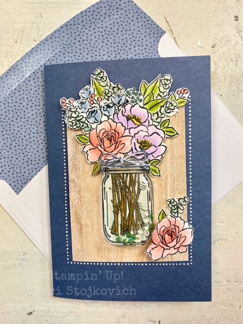jar of flowers shaker card  stampin up 2021 catalog