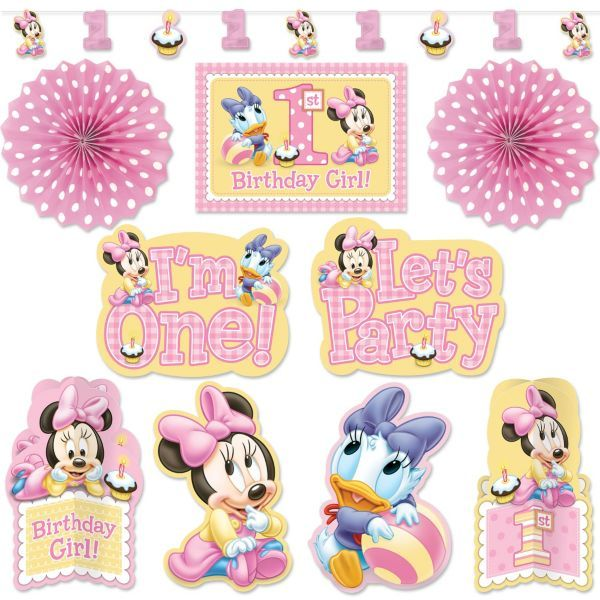 Super Minnie Mouse 1St Birthday Room Decorating Kit 10Pc Minnie Best Image Libraries Sapebelowcountryjoecom