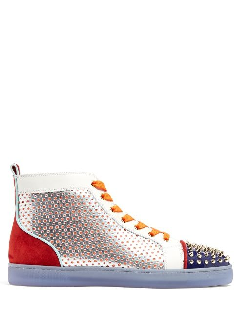 d6d5d1bf4d CHRISTIAN LOUBOUTIN Louis Contrasting High-Top Leather Trainers.  #christianlouboutin #shoes #sneakers