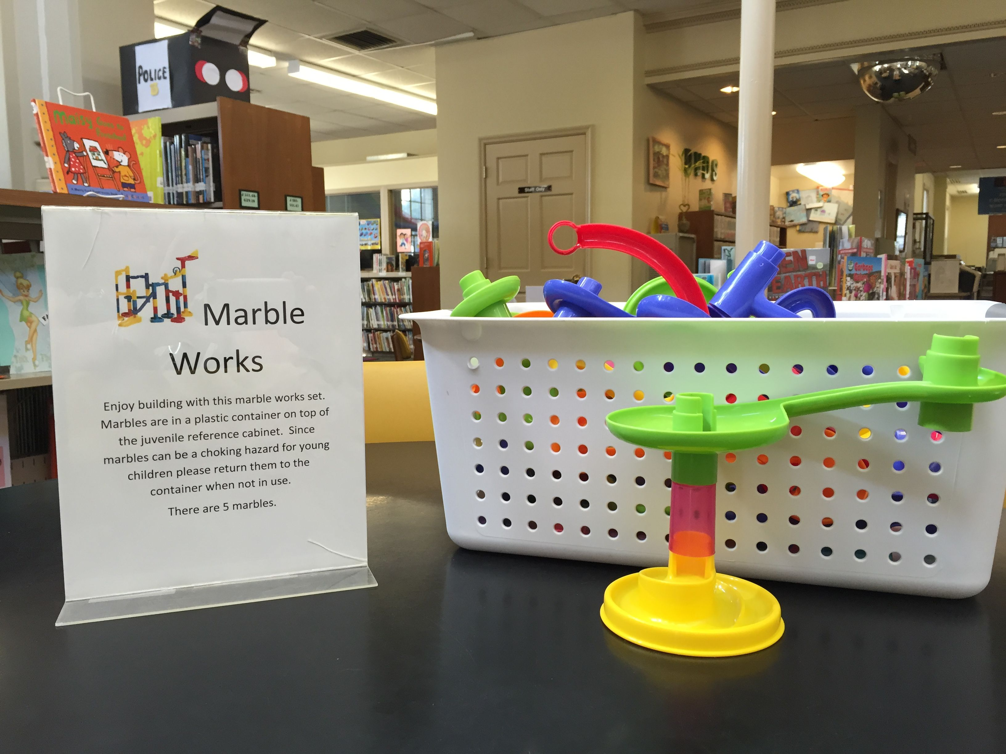 marbleworks in the library has been a HUGE hit with all ages.  Science and math all in one fun game.