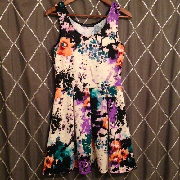 Watercolor Fl Print Skater Dress