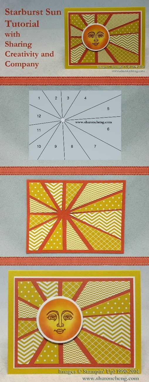 Sharing Creativity And Company Tutorial Sunburst Cards Paper Cards Cards