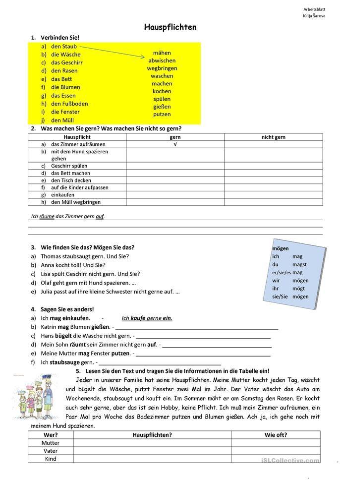 Hauspflichten | Worksheets