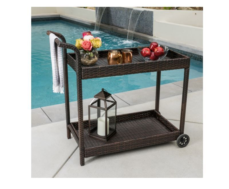 Bar Cart With Wheels Portable Rolling Wicker Kitchen Patio Deck Poolside  Home